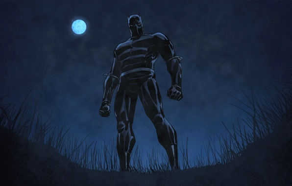 Picture grass, night, pose, The moon, costume, Marvel Comics, You Challa, Black Panther, Black Panther