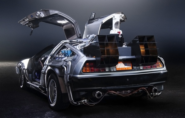 Picture background, door, Back to the future, The DeLorean, rear view, DeLorean, DMC-12, exhaust, Back to …