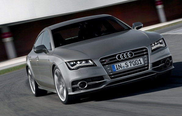 Picture Audi, Machine, Logo, Grey, The hood, Sedan, Lights, the front, In Motion