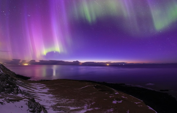 Picture sea, stars, night, lights, shore, Northern lights, Iceland
