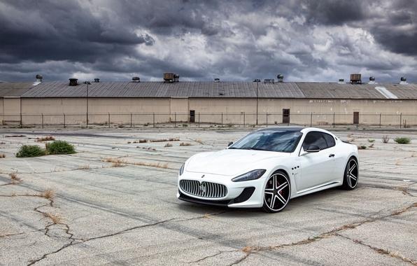 Picture white, asphalt, cracked, Maserati, white, GranTurismo, Maserati, MC Road, GranTurismo
