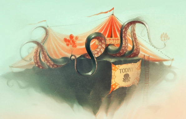 Picture balloons, circus, art, octopus, ladder, poster, tent