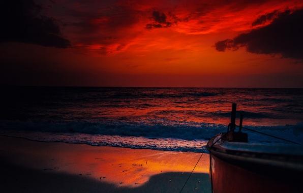 Picture sea, landscape, night, boat