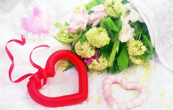 Picture leaves, flowers, red, pink, gift, heart, flowers, heart, wreath, holidays