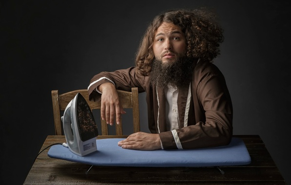 Picture hair, man, humor, beard, iron