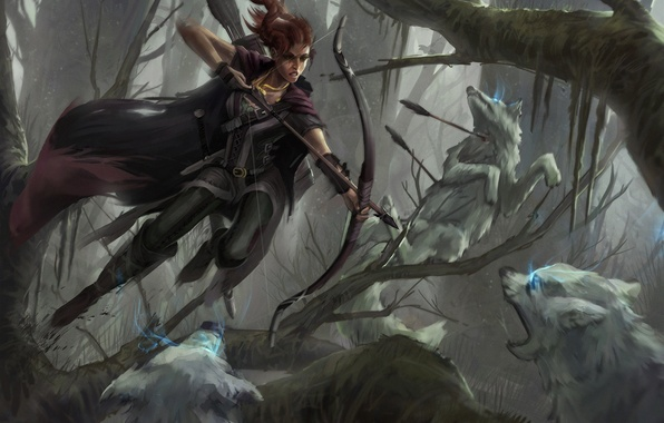 Picture forest, girl, jump, Archer, art, wolves, battle, arrows