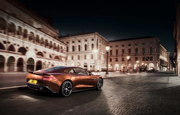 Picture night, the city, movement, Aston Martin, Aston martin, vanquish, vankvish, 310 am