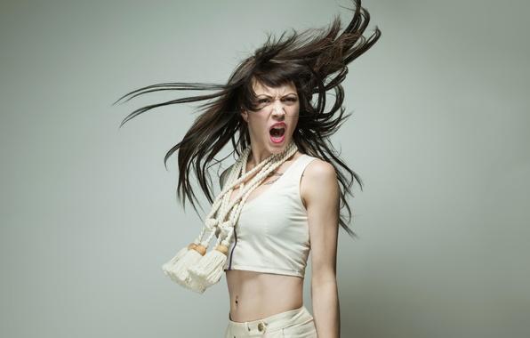 Picture girl, hair, Creek, stroke, emotion