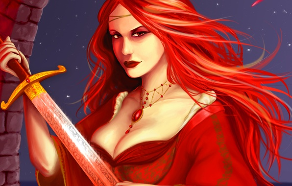 Picture look, girl, patterns, sword, dress, art, decoration, red hair, Game of thrones, Melisandre