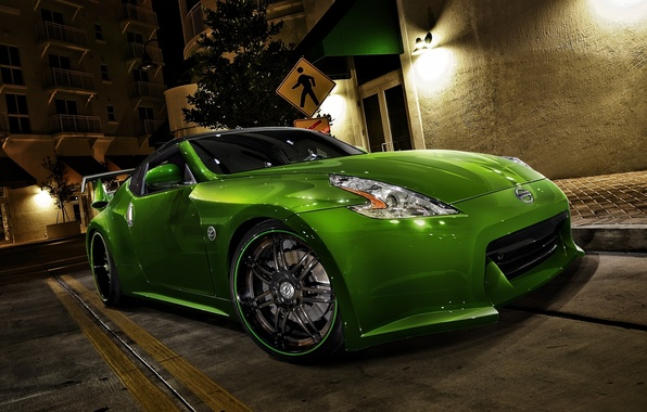 Picture car, machine, auto, green, Nissan, green, racing, Nissan 370Z