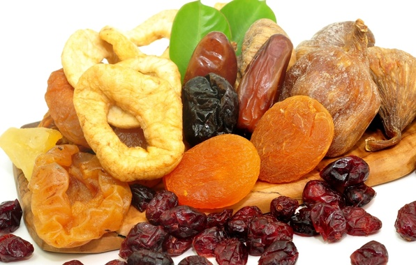 Picture food, nuts, raisins, figs, dried apricots, dried fruits, prunes, useful, dates