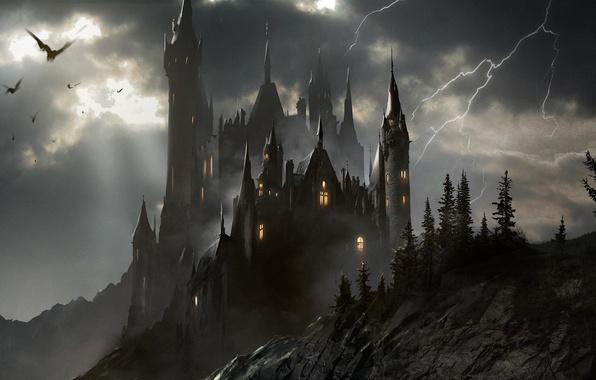 Photo Wallpaper The Storm Transylvania Castle Art