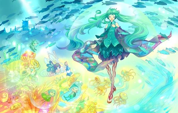 Picture girl, fish, men, art, jellyfish, vocaloid, hatsune miku, under water, gray fair
