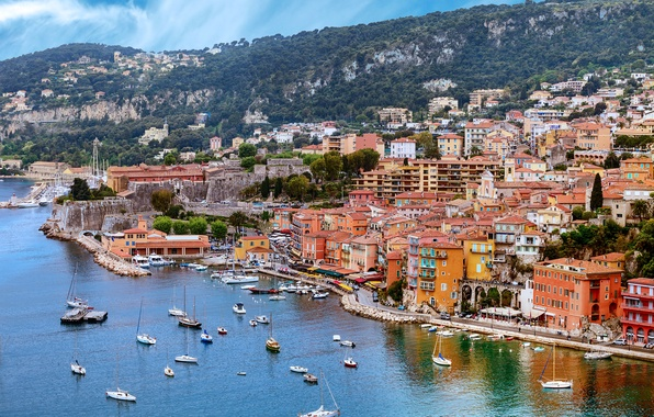 Picture sea, trees, rocks, France, home, yachts, boats, promenade, Nice, Nice