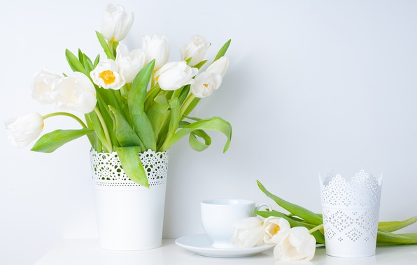 Picture leaves, flowers, spring, Cup, tulips, vase, white, saucer