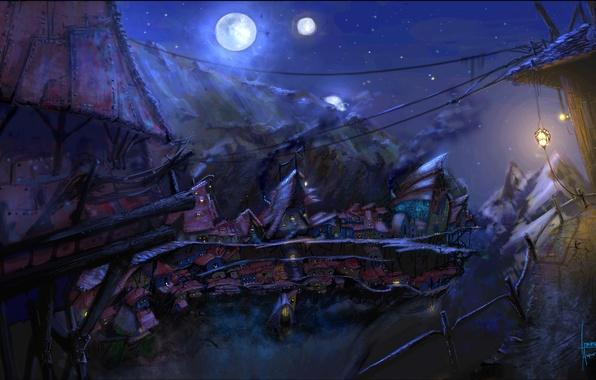 Picture stars, light, night, the moon, Windows, art, lantern, houses, painting