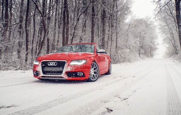 Picture winter, snow, Audi, Audi, before, red, red, winter