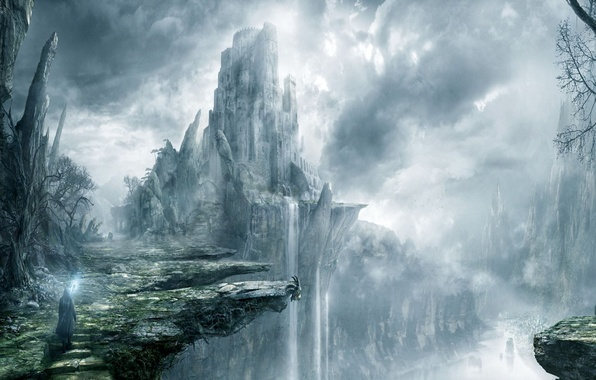 Picture clouds, fog, castle, open, rocks, waterfall, MAG, staff, fortress, traveler
