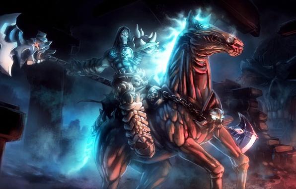 Picture death, weapons, horse, art, rider, undead, darksiders 2, Loyvet Stone