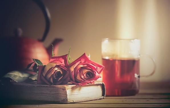 Picture tea, rose, book