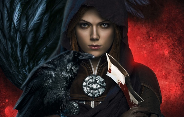 Picture girl, blood, hood, dagger, Raven, Dragon Age: Inquisition, Leliana