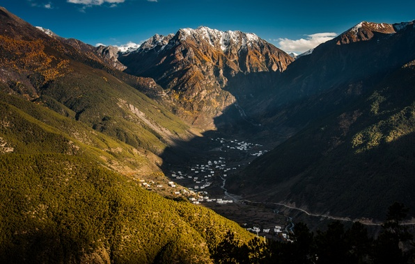 Picture the sky, mountains, valley, China, Tibet