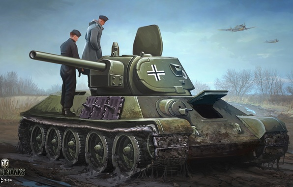 Picture road, autumn, the sky, figure, dirt, art, aircraft, tank, the Germans, Soviet, average, World of …