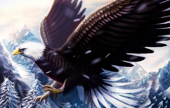 Picture cold, winter, snow, flight, mountains, bird, eagle, wings, beak, painting