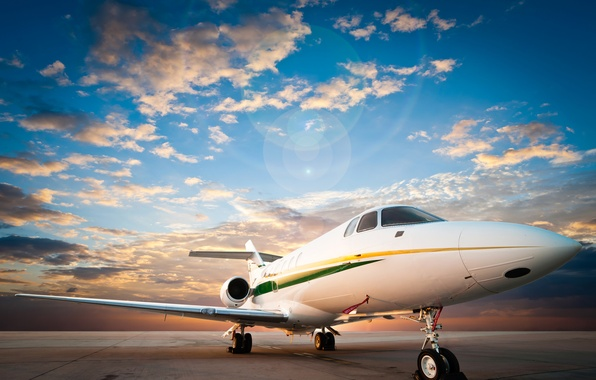 Picture the sky, asphalt, clouds, the plane, dawn, runway, the airfield, passenger