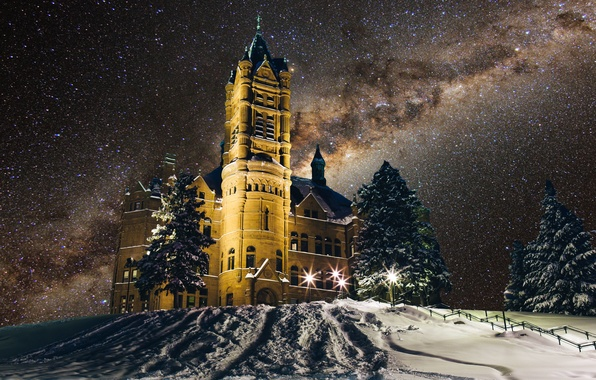 Photo Wallpaper Snow Syracuse University Crouse College Winter The Milky