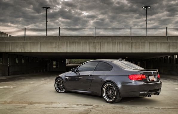 Picture grey, bmw, BMW, Parking, rear view, grey, parking, e92