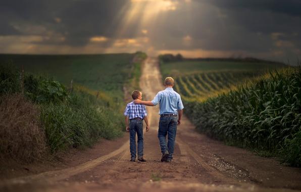 Picture road, field, father, space, son, Farm Boys
