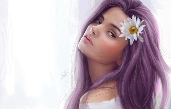 Picture flower, girl, hair, Daisy, art, everyday