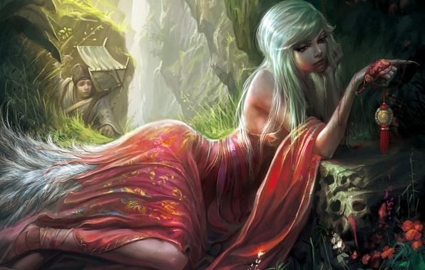 Picture girl, flowers, medallion, tail, claws, gorge, Art