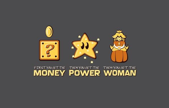 Picture women, power, money, Mario, super