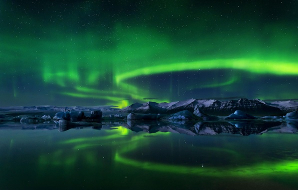 Picture ice, winter, the sky, water, stars, snow, night, island, Northern lights, ice, Iceland