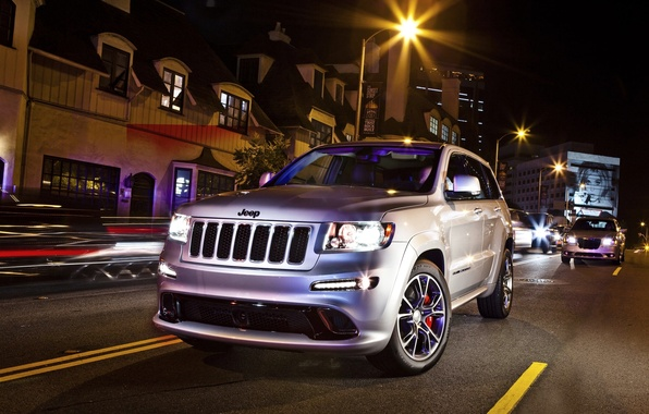Picture Black, Night, The city, Machine, SRT8, cherokee, Jeep, The front