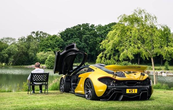 Picture lake, supercar, McLaren P1