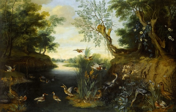 Picture animals, trees, river, picture, Jan Brueghel the younger, River Landscape with Birds