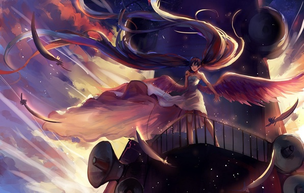 Picture the sky, girl, clouds, wings, anime, feathers, art, microphone, vocaloid, hatsune miku, sishenfan