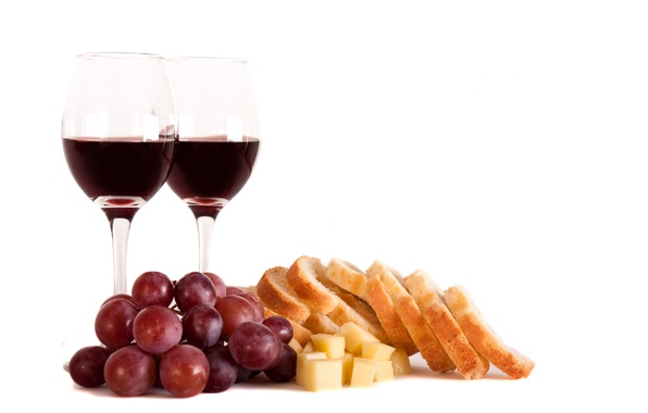 Picture wine, red, cheese, glasses, bread, grapes, chunks