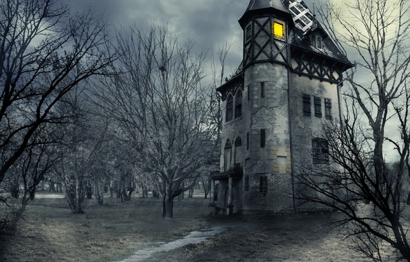 Picture the sky, clouds, trees, night, house, castle, the moon, moon, Halloween, halloween, sky, trees, night, …