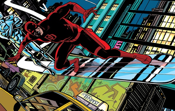 Picture machine, the city, street, Board, Daredevil, Marvel Comics, Daredevil, Silver Surfer, Silver Surfer