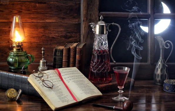 Picture notes, wine, the moon, smoke, watch, glass, lamp, tube, window, glasses, book, still life, bell, …