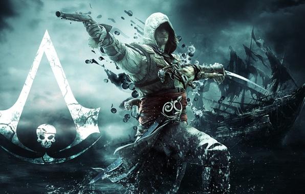 Picture gun, ship, sword, flag, pirate, assassin, Edward Kenway, Assassin's Creed IV: Black Flag