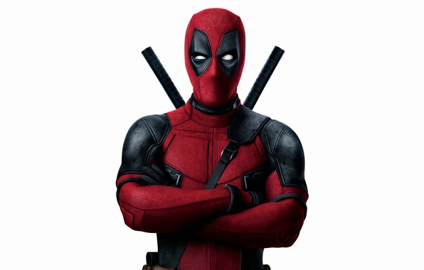 Picture red, weapons, fiction, mask, costume, white background, Ryan Reynolds, Ryan Reynolds, swords, superhero, Deadpool, Deadpool, …