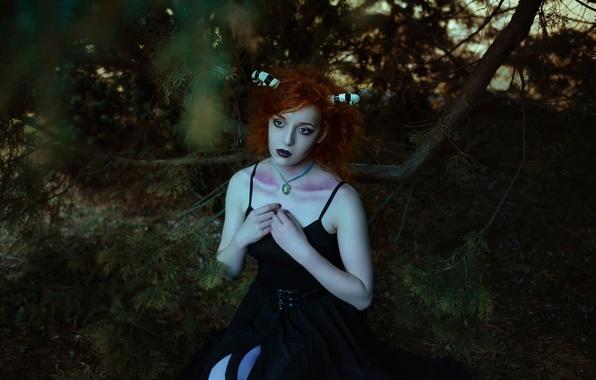 Picture forest, girl, fantasy, art, horns, Forest child