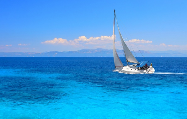 Picture the way, mood, the ocean, the wind, yacht, sails