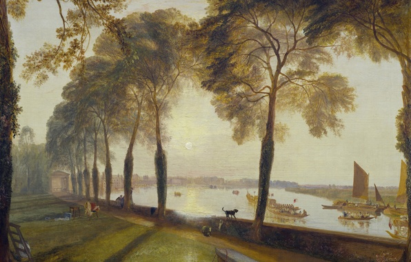 Picture trees, landscape, sunset, river, people, picture, boats, the evening, sail, William Turner, Mortlake Terrace, the …