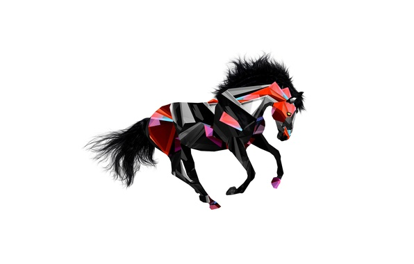 Picture animals, abstraction, horse, horse, color